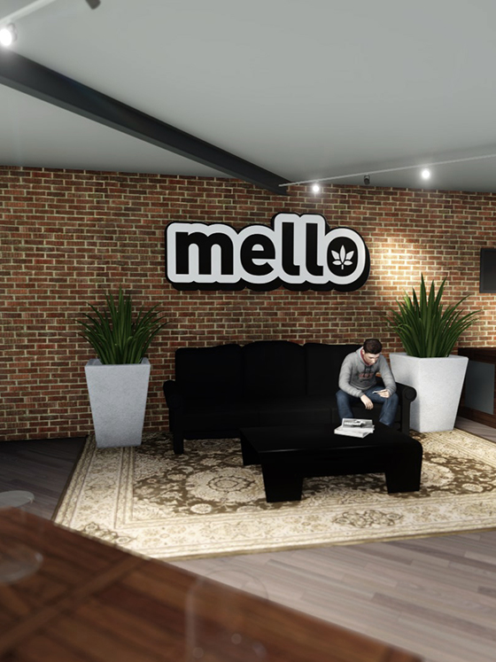 A man sitting on a sofa at the Mello dispensary