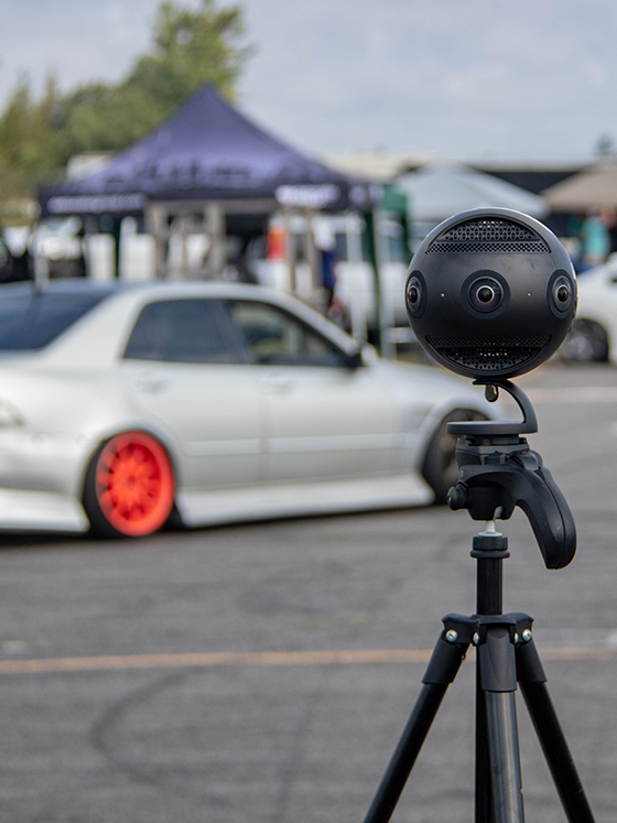 a 360 vr camera set up at a race track for a drifting event D1SP
