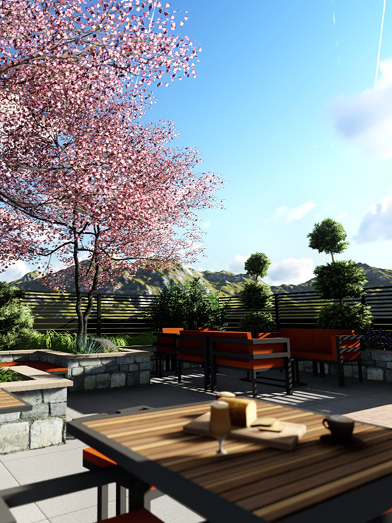 Outdoor rendering of a backyard with a view of the mountains in the distance