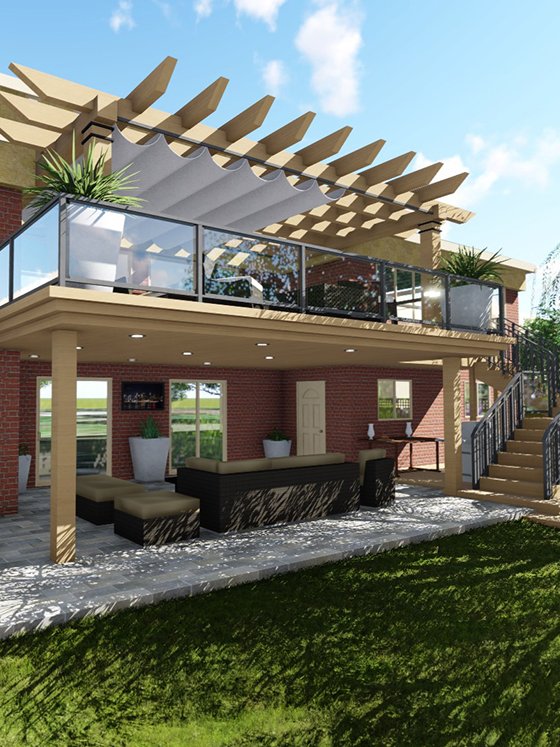 a rendering of a house and balcony