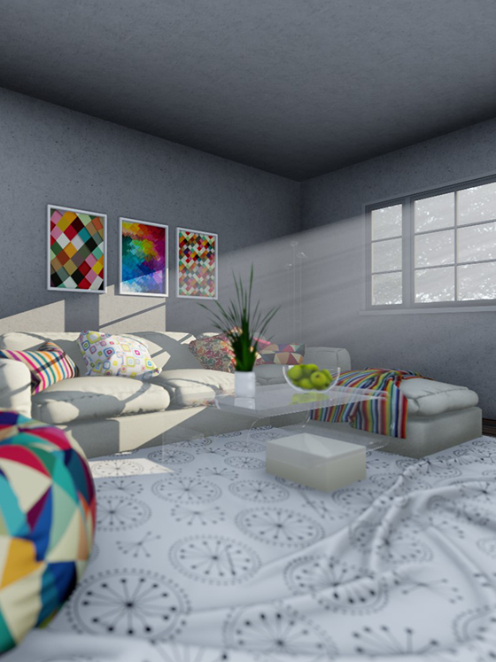 interior rendering of a living room at sunrise
