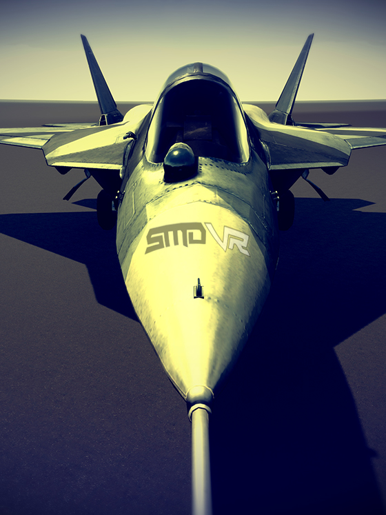 An F16 fighter jet with the SMDVR logo on the nose