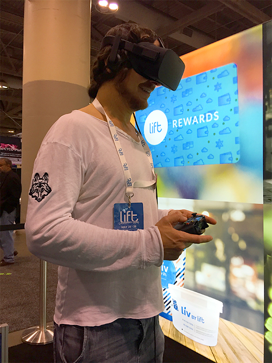 Todd Shapiro enjoying the virtual reality cannabis experience