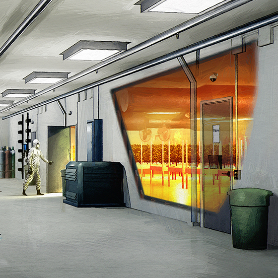 An architectural rendering inside of a licenced producer facility created by SMDVR