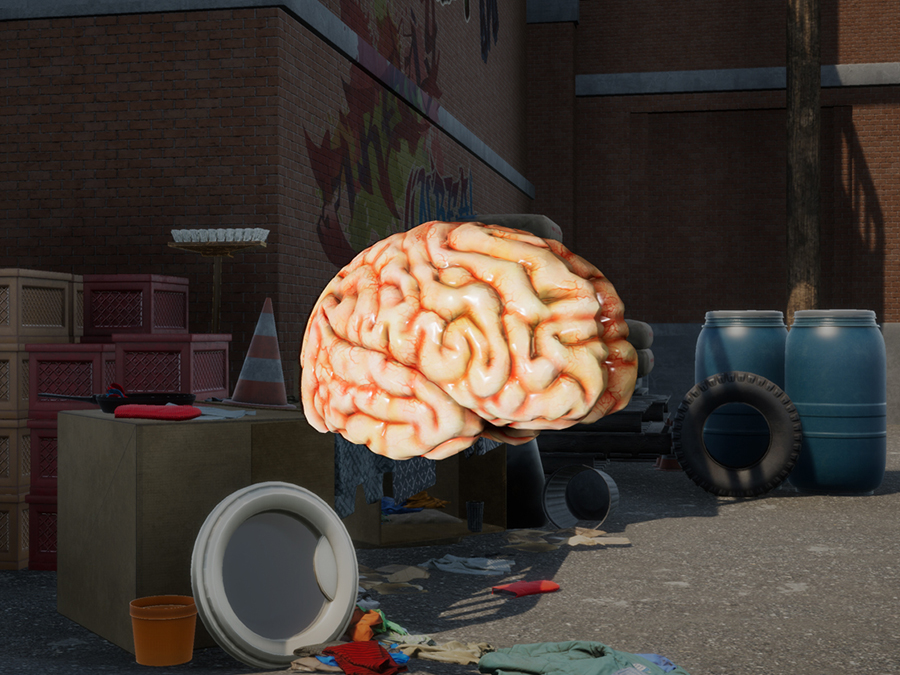 A screenshot of the brain stories vr experience powered by SMDVR