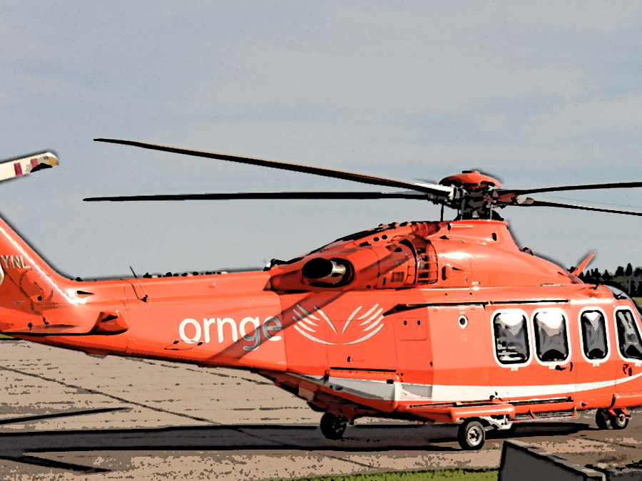 A ornge helicopter with a poster effect