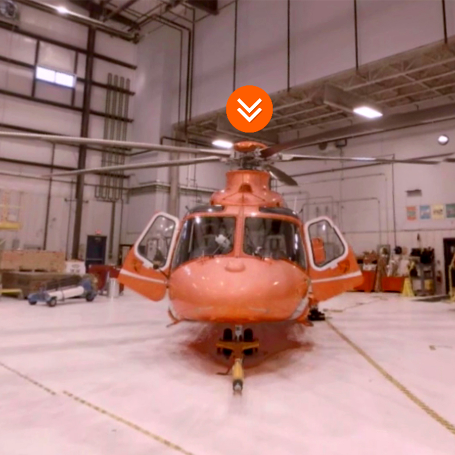 a screenshot of the Ornge helicopter hangar with a button above the helicopter