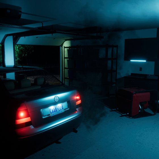 A screengrab of the Garage in the Silent Killer VR Kitchen rendered by SMDVR